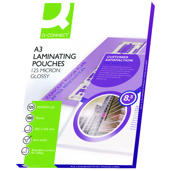 Q-Connect A3 Laminating Pouch 250 Micron (Pack of 100) KF04124