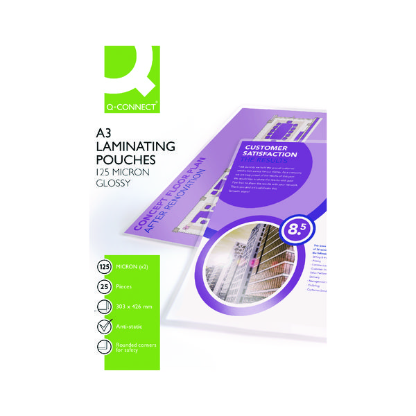 Q-Connect A3 Laminating Pouch 250 Micron (Pack of 25)