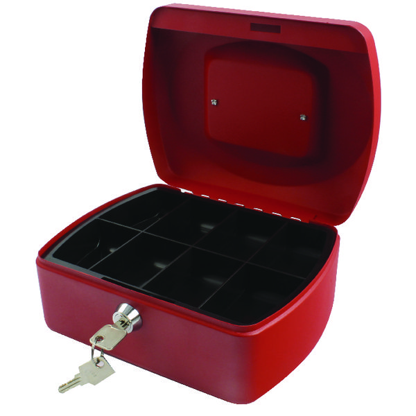 Q-Connect Red 8 Inch Cash Box