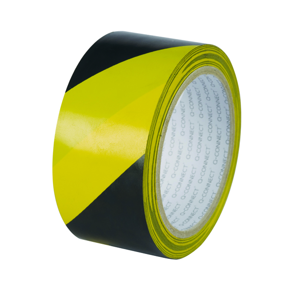 Q-Connect Yellow Black Hazard Tape (Pack of 6)