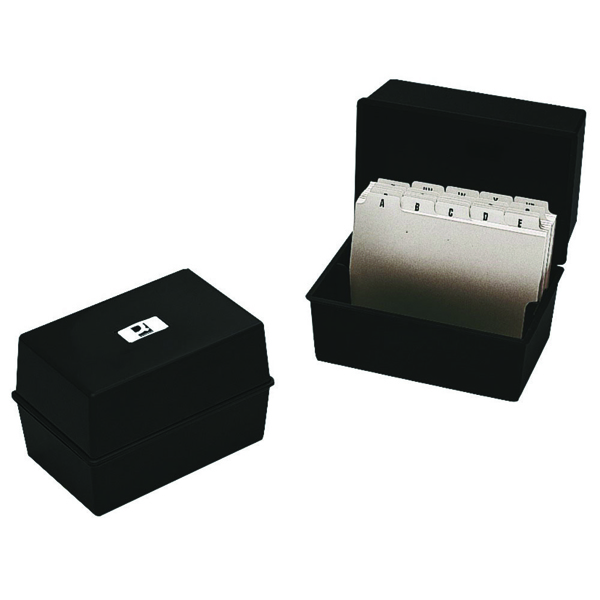 Q-Connect Black Card Index Box 8x5 Inches KF10020