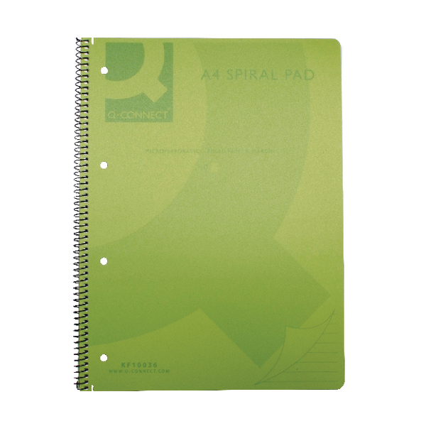 Q-Connect Spiral Bound Polypropylene A4 Notebook 160 Pages Green (Pack of 5) KF10036
