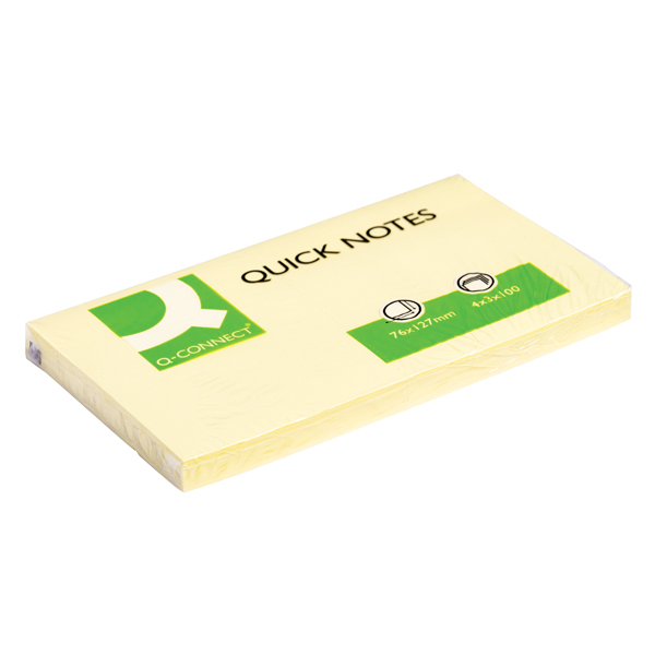 Q-Connect Repositionable 76 x 127mm Yellow Quick Notes (Pack of 12)