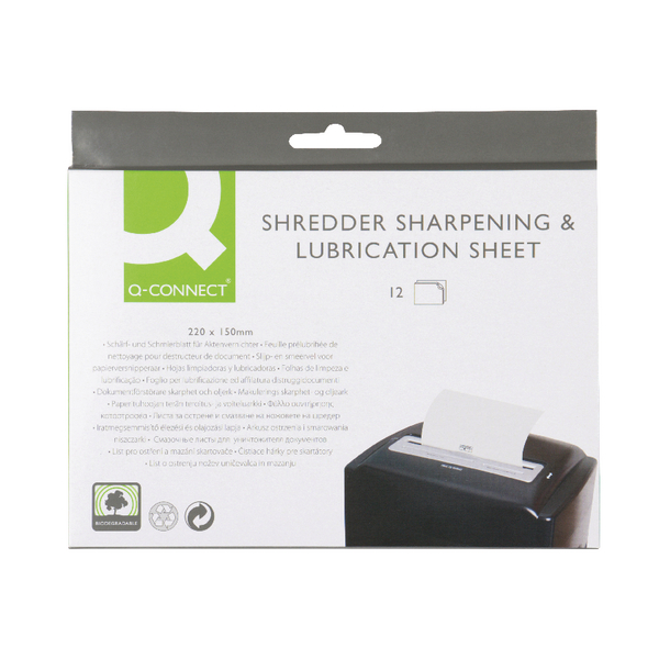 Q-Connect Shredder Sharpening and Lubrication Sheet 220x150mm