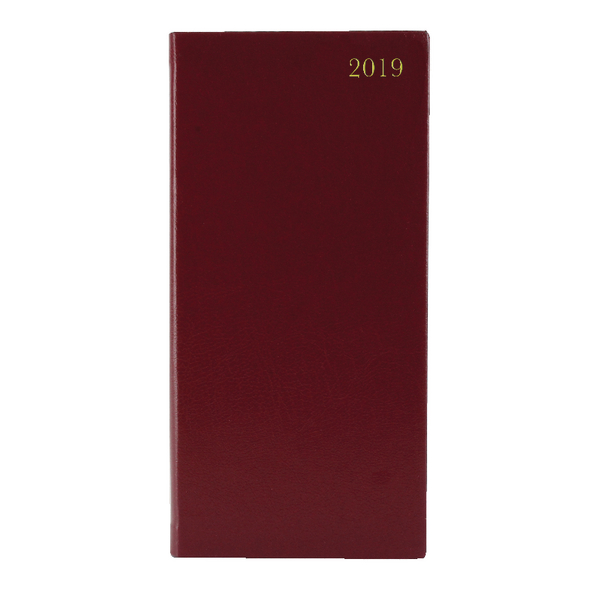 Image for Week to View 2019 Portrait Burgundy Slim Diary