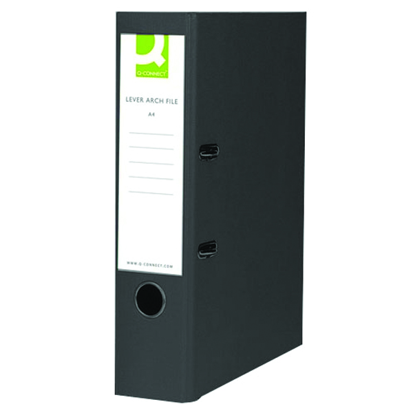 Q-Connect 70mm Lever Arch File Polypropylene Foolscap Black (Pack of 10) KF20025