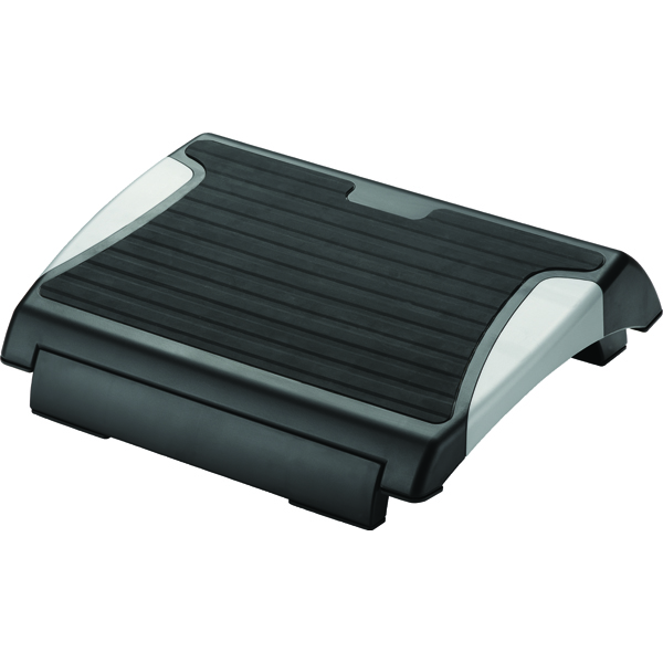 Q-Connect Black and Silver Rubber Foot Rest