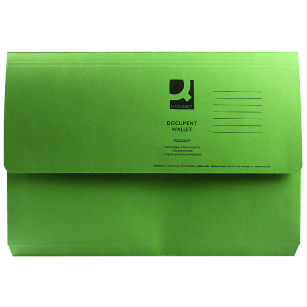 Q-Connect Foolscap Green Document Wallet (Pack of 50)