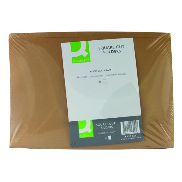 Q-Connect Buff Kraft Square Cut Folder (Pack of 100) KF23025