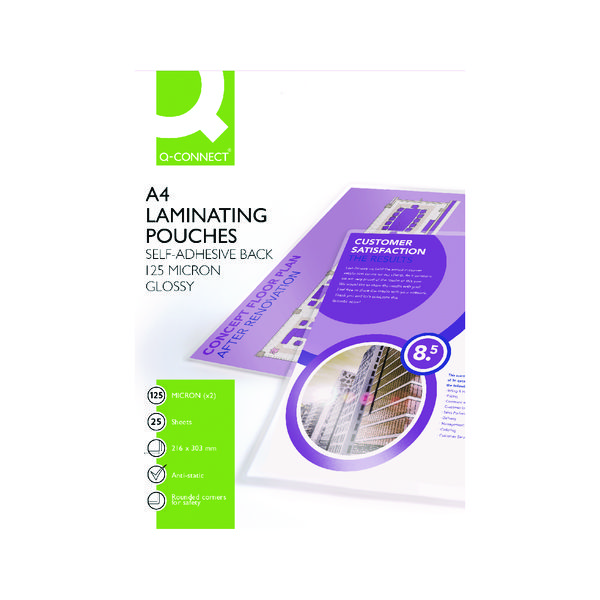 Q-Connect A4 Sticky-Backed Laminating Pouches 250 Micron (Pack of 25) KF24056