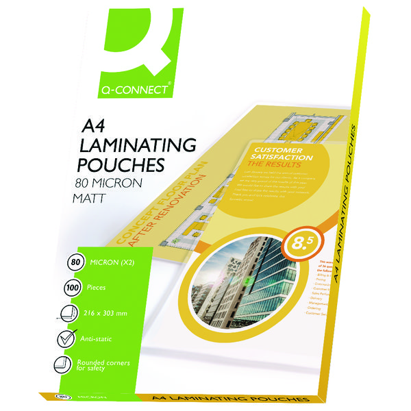 Q-Connect Matt A4 Laminating Pouch 160 Micron (Pack of 100)