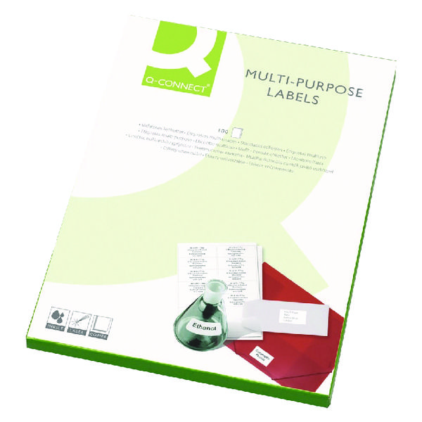 Q-Connect White Multipurpose Label 99.1 x 38.1mm 14 Per Sheet (Pack of 1400)