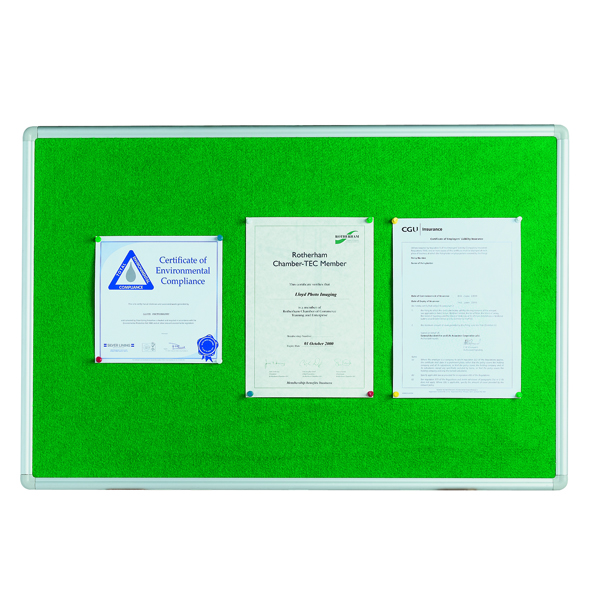 Image for Q-Connect 900x600mm Aluminium Frame Green Notice Board 54034203