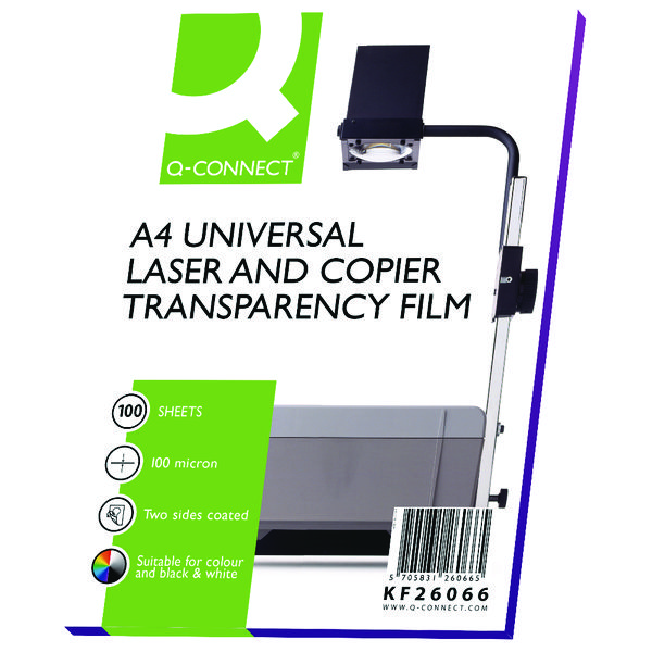 Image for Q-Connect Clear Over Head Projector Film (Pack of 100)