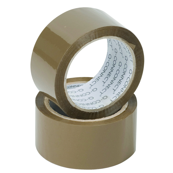 Q-Connect Polypropylene Packaging Tape 50mm x 66m Brown (Pack of 6 )