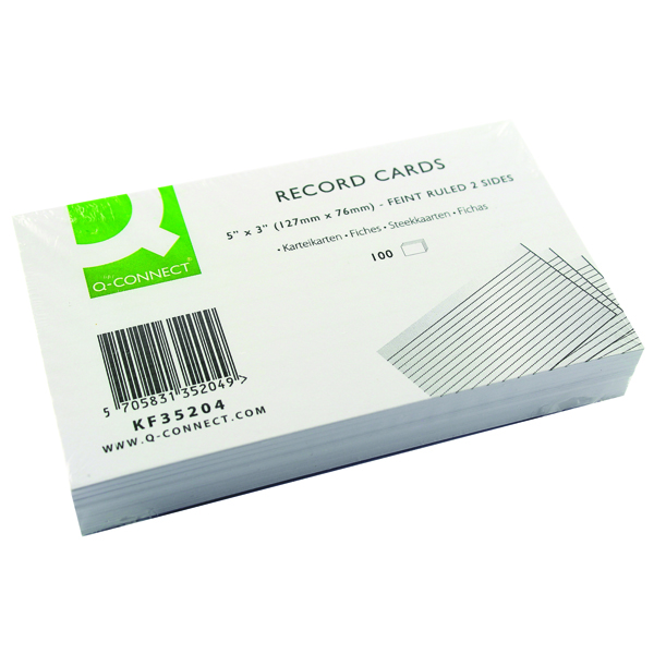 Q-Connect Record Card 5x3 Inches Ruled Feint White (Pack of 100) KF35204