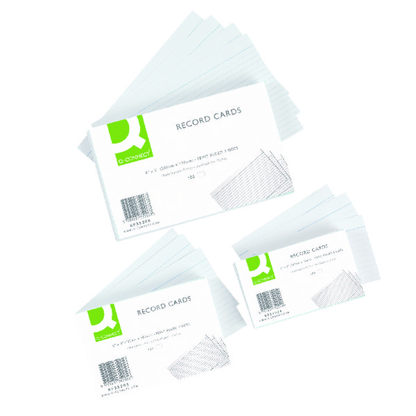 Q-Connect Record Card 8x5 Inches Ruled Feint White (Pack of 100) KF35206