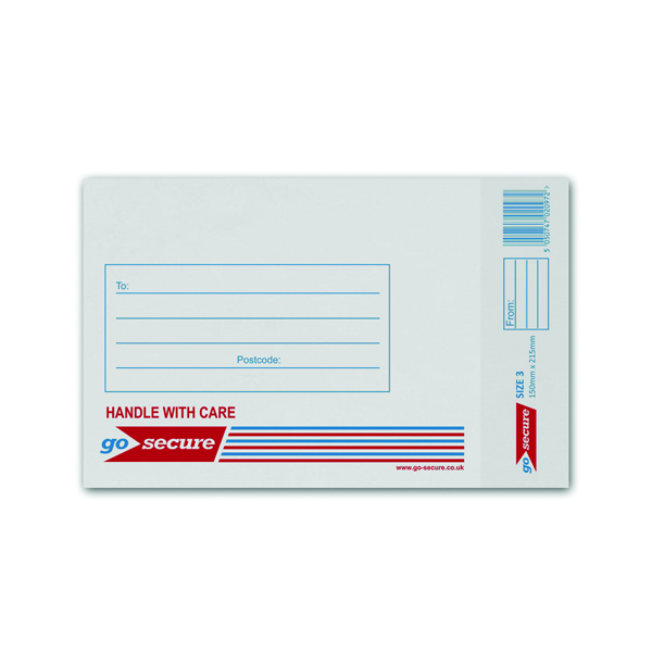 GoSecure Bubble Lined Envelope Size 3 150x215mm White (Pack of 100) KF71448
