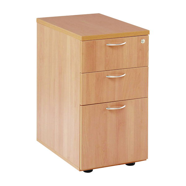 Jemini 3 Drawer Desk High Pedestal 600mm Beech