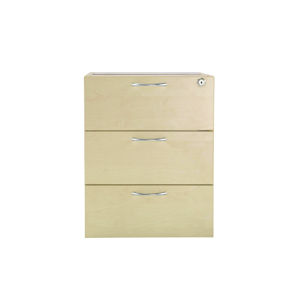 Jemini 3 Drawer Fixed Pedestal Maple