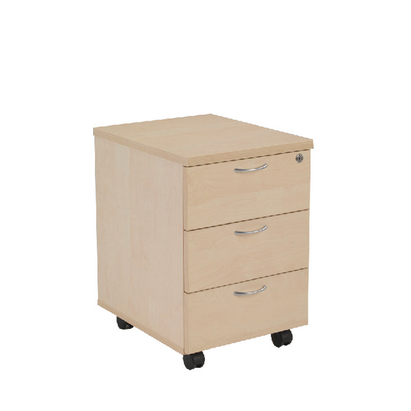 Jemini Maple 3 Drawer Mobile Pedestal