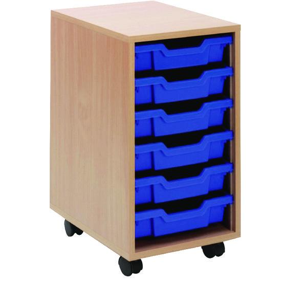 Image for Jemini Mobile Storage Unit 6 Blue Trays Beech