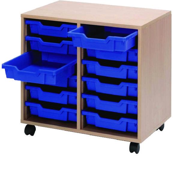 Image for Jemini Mobile Storage Unit 12 Blue Trays Beech
