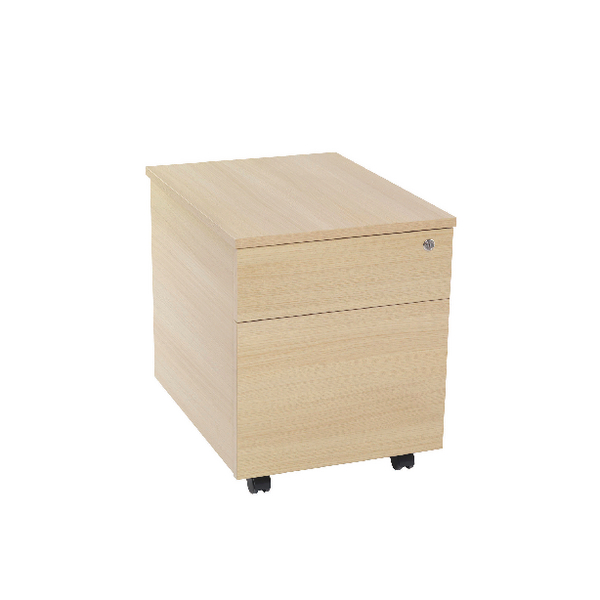 Jemini 2 Drawer Warm Maple Mobile Pedestal