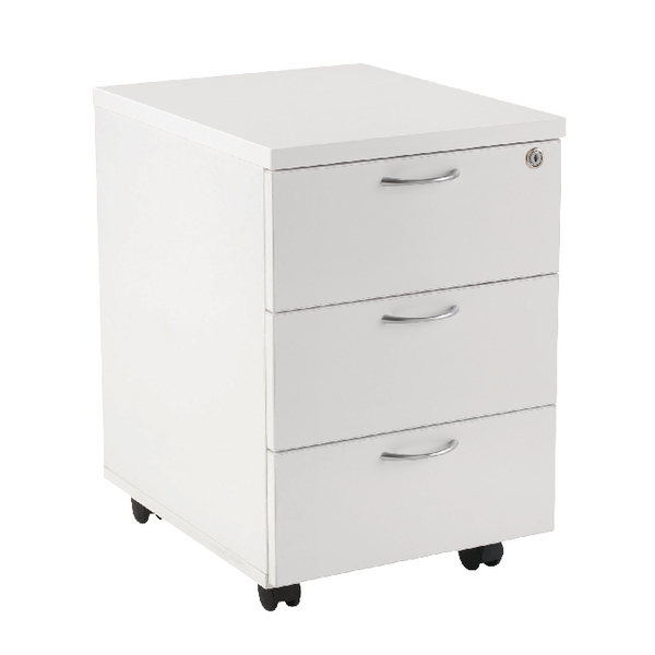 Jemini 3 Drawer Mobile Pedestal White