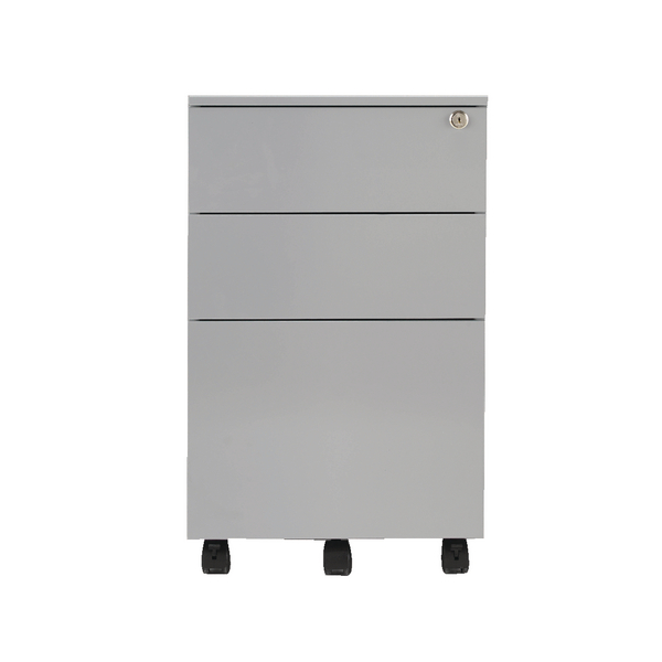 Jemini Mobile Steel 3 Drawer Pedestal Silver