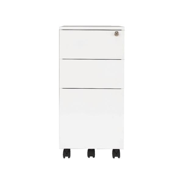 Jemini Mobile Steel 3 Drawer Pedestal Slimline White
