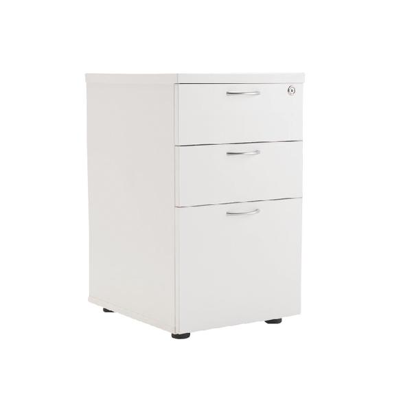 First Tall Under Desk Pedestal 3 Drawer White