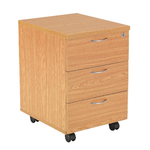 First Mobile Under Desk Pedestal 3 Drawer Oak
