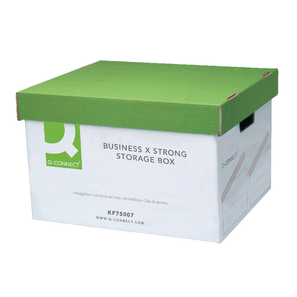Q-Connect Extra Strong Business Storage Box W327xD387xH250mm Green and White