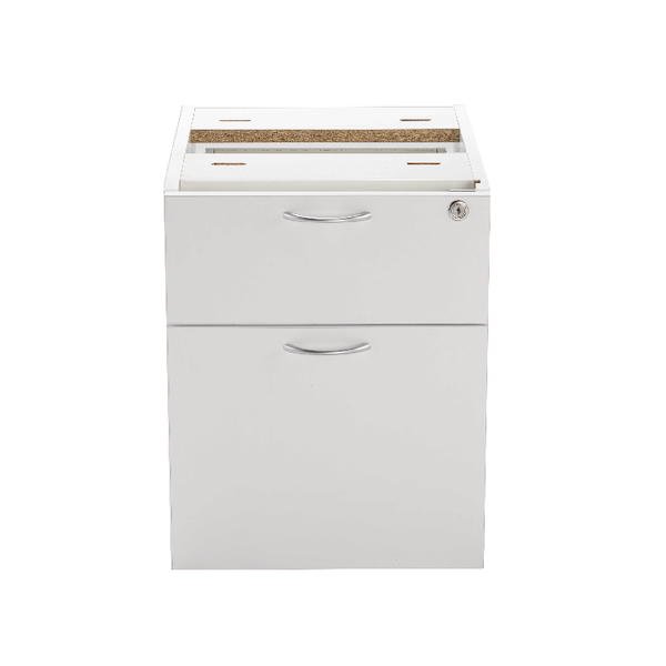 Jemini 2 Drawer Fixed Pedestal White