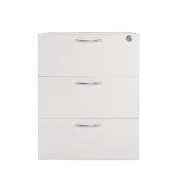 Jemini 3 Drawer Fixed Pedestal White