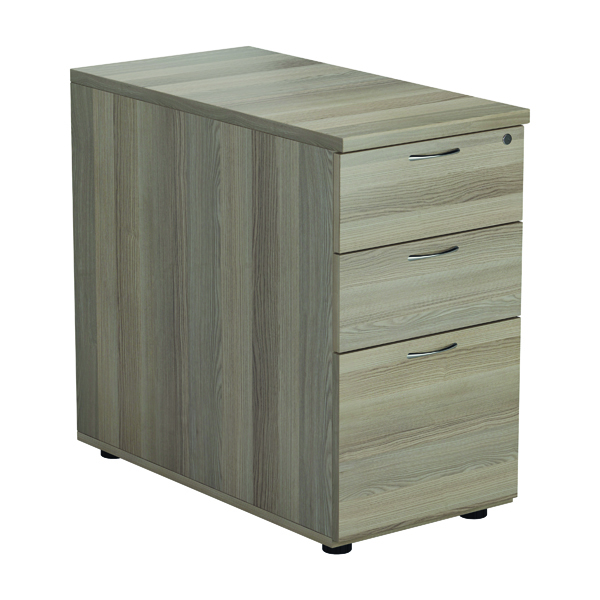 Jemini Grey Oak 3 Drawer Desk High Pedestal D800