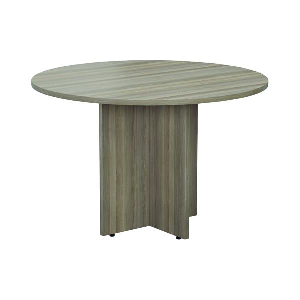 Jemini Grey Oak Round D1200 Meeting Table