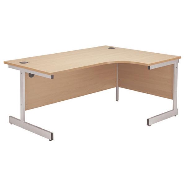 Jemini Beech/Silver 1200mm Right Hand Radial Cantilever Desk