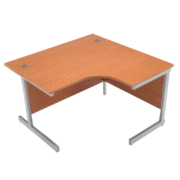 Jemini Oak/Silver 1200mm Right Hand Radial Cantilever Desk