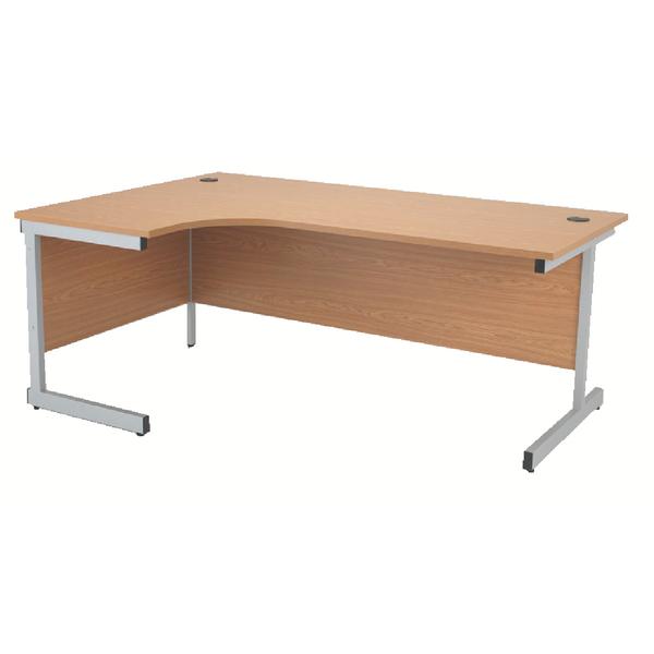 Jemini Oak/Silver 1600mm Left Hand Radial Cantilever Desk