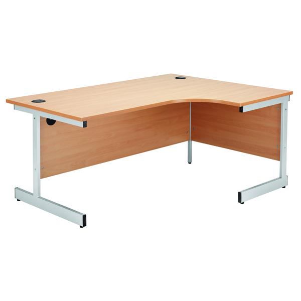 Jemini Beech/Silver 1600mm Right Hand Radial Cantilever Desk