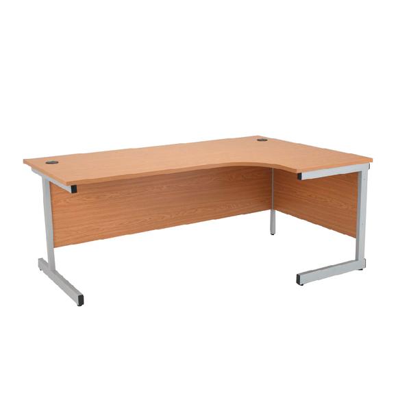 Jemini Oak/Silver 1600mm Right Hand Radial Cantilever Desk