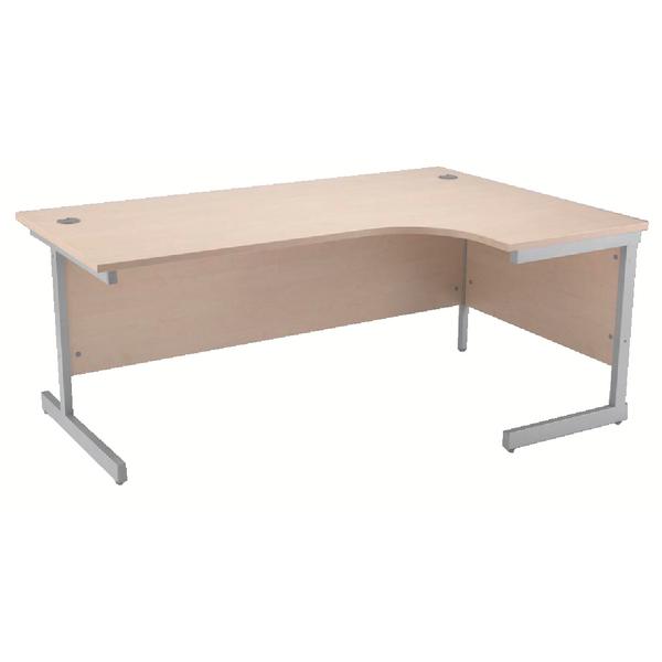 Jemini Maple/Silver 1600mm Right Hand Radial Cantilever Desk