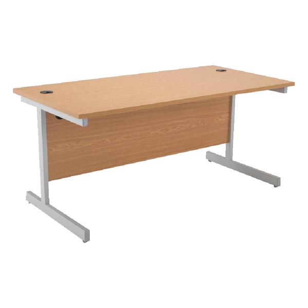 Jemini Oak/Silver 1600mm Rectangular Cantilever Desk