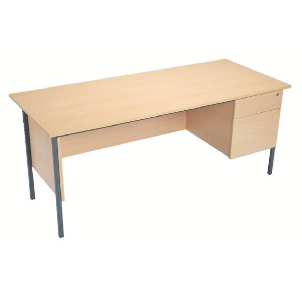 Serrion Ferrera Oak 1500mm Four Leg Desk with Two Drawer Pedestal