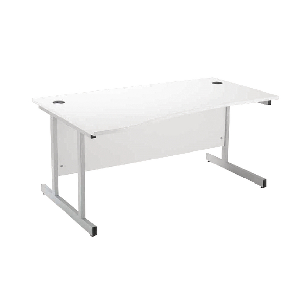 Jemini White/Silver 1600mm Left Hand Wave Desk