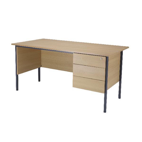Serrion Ferrera Oak 1800mm 4 Leg Desk with 3 Drawer Pedestal