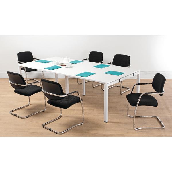 Arista White 2.4M Bench Boardroom Table