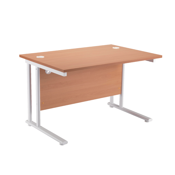 Image for First Rectangular Cantilever Desk 1200mm Beech with White Leg